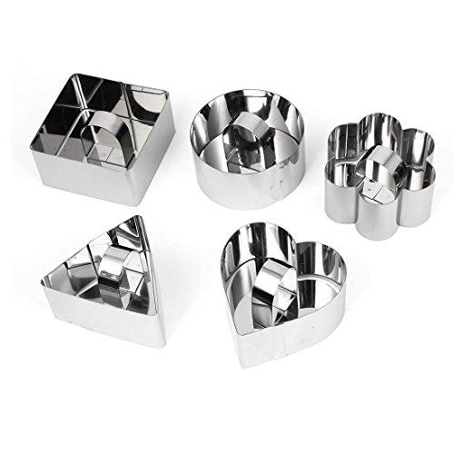 Preisvergleich Produktbild sourcingmap® 5 in 1 Edelstahl Plätzchen Kuchen Ausstechform Fondant Scherblock Form Werkzeug