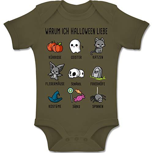Shirtracer Anlässe Baby - Warum ich Halloween Liebe - 1-3 Monate - Olivgrün - BZ10 - Baby Body Kurzarm Jungen Mädchen (Halloween Erklärung Von 3)