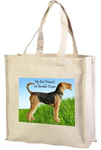 Airedale Terrier-Borsa della spesa in cotone (crema)