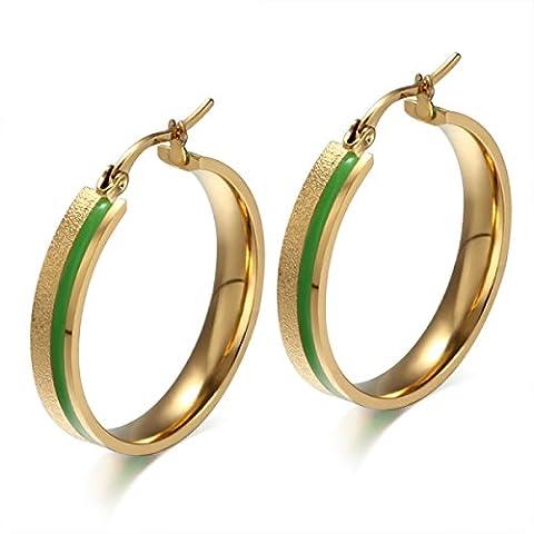 CHENGYUXUAN Dame Mode Boucles D'oreilles En Acier Inoxydable Vert Sabler époxy Cercle Boucles D'oreilles Un Cadeau à Envoyer Amie,Gold-OneSize