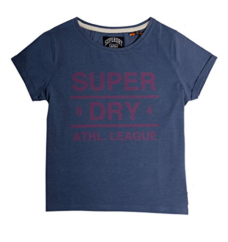 Superdry Womens Athl League Tee In Mid Blue MARL BV8