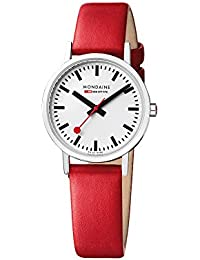 Mondaine Women's Classic 30 mm Watch with Stainless Steel polished Case white Dial and red leather strap Strap A658.30323.11SBP