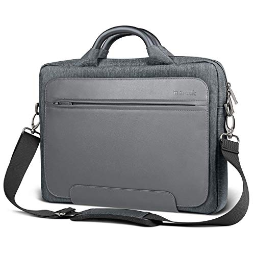 """Inateck Man Shoulder Bag, 14-14.1 Inch Laptop Bag for 15"""" 2016/2017 MacBook Pro and Up to 14.1 Inch Laptop Ultrabook, PU Leather Water-resistant Briefcase Handbag - Dark Gray"""