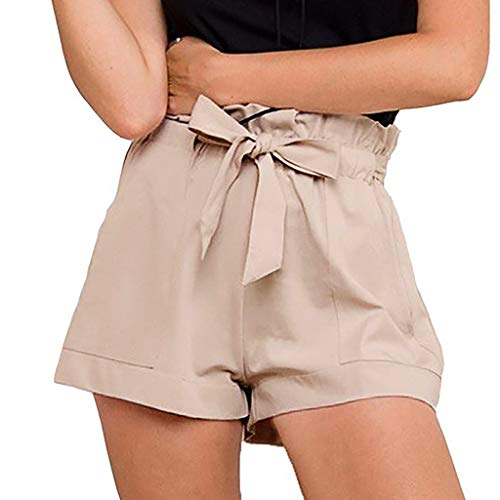 WOZOW Damen Shorts Kurze Hose Solid Falten Gefaltet Rüschen Kordelzug Zug Tie Riemchen Casual Workwear Lose Loose Bequem A line Mini Trousers Pocket Summer (M,Beige)