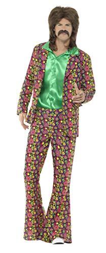 Smiffys Herren 60er Jahre Rausch CND Kostüm, Jacke und Schlaghose, Größe: M, - Peace Out Hippie Kostüm