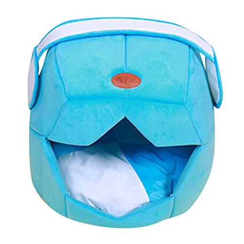 ZhuikunA 2 in 1 Hundehöhle Haustierbett für Hunde Katze Warm in Sommer Winter Waschbarer Hundebetten Katzenbett See-Blau M
