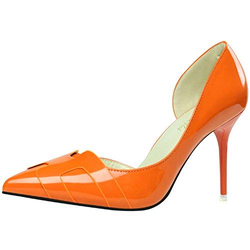 Oasap Women's Fashion Solid Pointed Toe High Heels Slip-on Pumps Orange