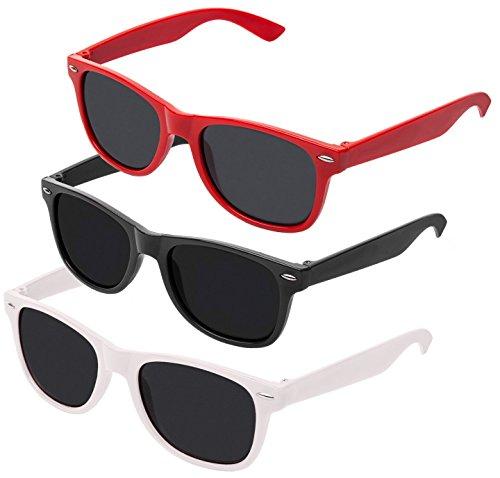 Nerd Sonnenbrille im Wayfarer Stil Retro Vintage Unisex Brille - Boolavard® TM (Schwarz + Weiß + Rot Tönung)
