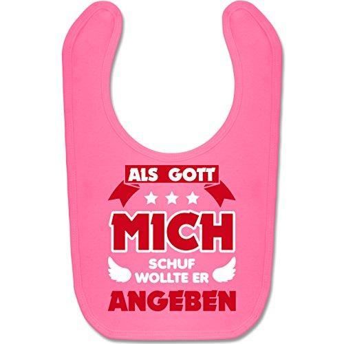 Sprüche Baby - Als Gott mich schuf - Unisize - Pink - BZ12 - Baby Lätzchen Baumwolle