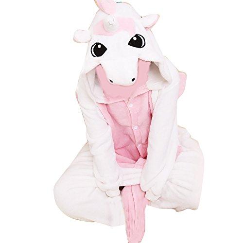 Anbelarui Unisex Erwachsene Einhorn Schlafanzug Karneval Tier Cosplay Plüschtier Kapuzenkostüm ( Rosa und Weißes Einhorn,X-Large) (Herren Und Damen Kostüme)