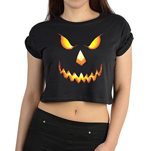 Cooles Crop Top mit Halloween Motiv - KÜRBIS, Böses Kürbis Gesicht - bauchfreies Top von Goodman Design