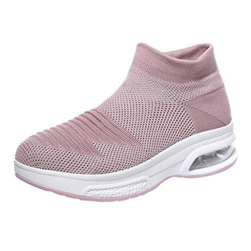 Damen Sneaker Slip On Strick Sportschuhe mit Luftpolster Turnschuhe Plattform Laufschuhe Air Leichte Outdoor Walking Schuhe Keilabsatz Wanderschuhe (EU:39, Rosa)