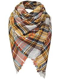 eb4e7b33d863 foulards, Tefamore Femmes châle en cachemire automne écharpe en laine à  carreaux écharpe