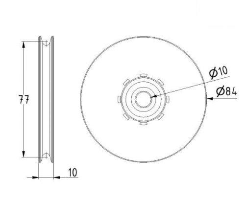 Seilrolle Stahl 84 mm Seil Ø 4 mm DO - 3