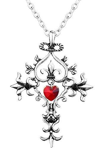 Inception Pro Infinite Damenhalskette mit Gothic-Kreuz-Anhängerfilm Vampir-Tagebücher Elena Gilbert mit rotem Herzzirkon - Tagebuch eines Vampir-Fernsehers