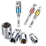 Akkuschrauber Stecknuss Adapter Steckschlüssel Nuss Set 3-tlg 1/4 3/8 / 1/2 Zoll und Stecknuss Adapter 4-tlg 1/4 auf 3/8 - 3/8 auf 1/4 Zoll - 3/8 auf 1/2 - 1/2 auf 3/8