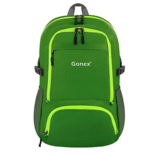Gonex 30L Leichter Faltbarer Rucksack für Männer, Frauen und Kinder - als Reiserucksack, Tagesrucksack, Handgepäck für mehr Stauraum Dunkelgrün