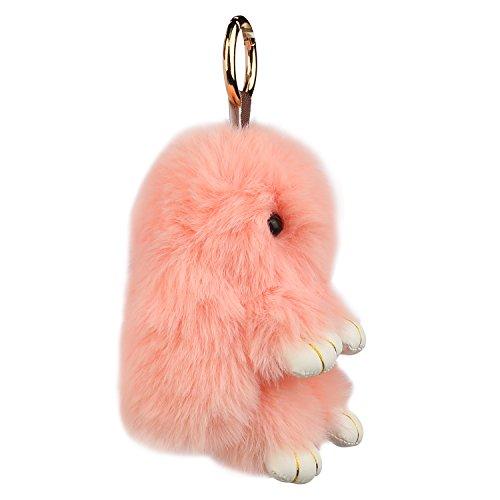 Auranso Soft Plush Bunny Charm Ring Keyfob Rabbit Faux Fur Keyring Fluffy  Pompom Keychain Decoration 5c31ac507b8fc