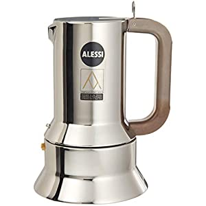 Alessi Espresso Coffee Maker in 18/10 Stainless Steel Mirror Polished with Magnetic Heat Diffusing Bottom
