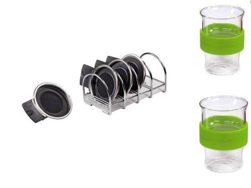 Xavax Ständer für Padhalter, mit Tropfschale + 2 Glastassen silikonummantelt grün