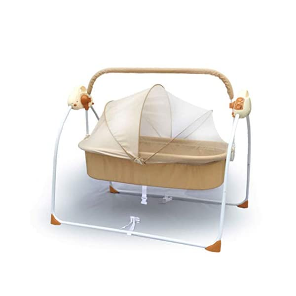 Mr.LQ Electric Shaker Electric Cradle Bed Baby Shake Bed Newborn Sleeping Intelligent Automatic Flat Lay Crib,Pink  ?Special design: Carefully design every detail to create a comfortable feeling for your baby. It is closer to the mother's arms. ?Safety: thick steel pipe, strong carrying capacity, anti-slip mat on the foot, ensuring the base is strong, will not damage the floor ?Additional features: 3-speed swing, 3-speed timing, 6 music, with mattress and mosquito net 2