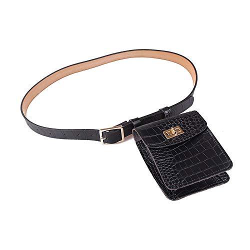 Mochila Mini Bolso Bolsillos Para Mujer Cinturón De Hebilla Bolsa Vertical Patrón De Cocodrilo Bolso Monedero Bolso Pequeño Retro Fresco Versátil Negro