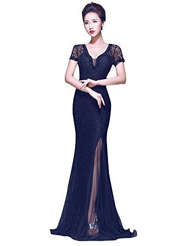 Beauty-Emily scollo a V cut out Lace vede attraverso il vestito da partito Nero