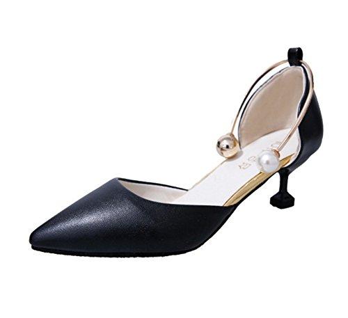 SHUNLIU Damen Spitze High Heels T-strap Stiletto Lack Pumps mit Perlen Schnalle 3cm Absatz Schuhe Schwarz