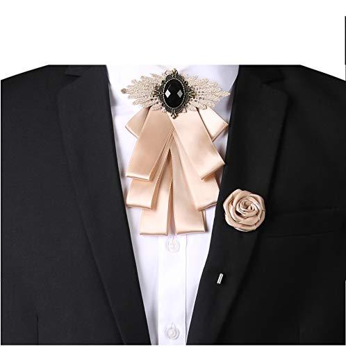 L & L UNISEX Krawatte Hochzeit Tuxedo Fliege anschnallen Brosche REVERSNADEL Korsage set UK - Champagner, One size