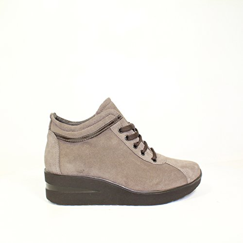 Sneakers Francesina Stivale Anfibio Biker Scarpe Tronchetto Donna Only-I 208D New Collection Inverno Pelle Made in Italy 2014-2015 (37, Cam. Taupe T.Moro)