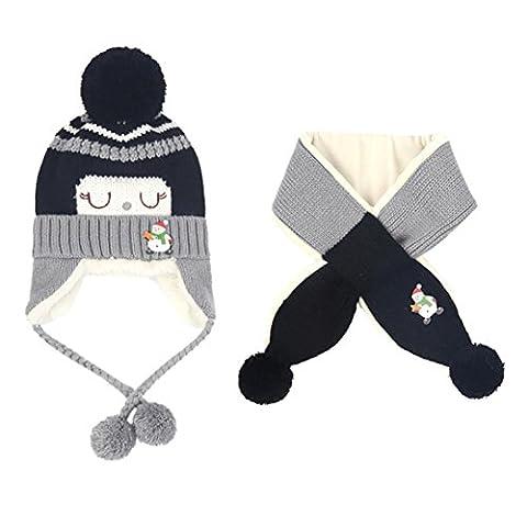 Unisex Baby Jungen Mädchen Kinder Newborn Beanie Mütze wintermütze Strickmütze Schal