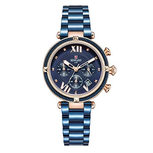Damenuhren Chronograph 3 Zifferblätter Kalender Stahlseil Armbanduhren für Damen Frauen Edelstahlarmband, Blau