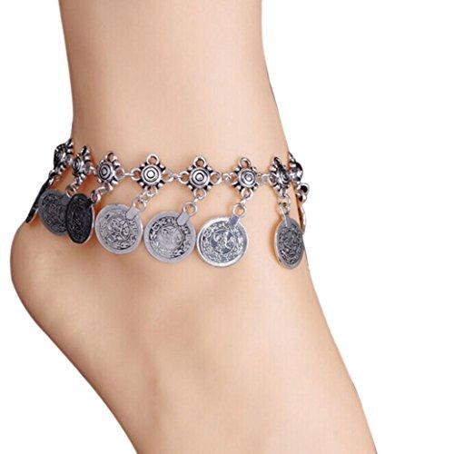 Sterling Münze Silber Damen Ringe (Schmuck Damen Fußkettchen DAY.LIN Tribal ethnischen Münze Quaste Zigeuner Festival türkischen Strand Fußkettchen Schmuck)