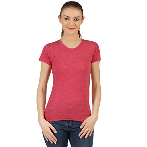 T-Shirt.ind.in Casual FINE Womens Maroon melange Round Neck T-Shirt  available at amazon for Rs.170
