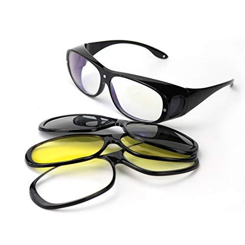 Night Vision Wraparound Gläser-Fits Over Prescription Glasses-Gelb getönte polarisierte Linsen reduzieren die Glare For Night Driving Increase Safety (Drei in einem Suit)