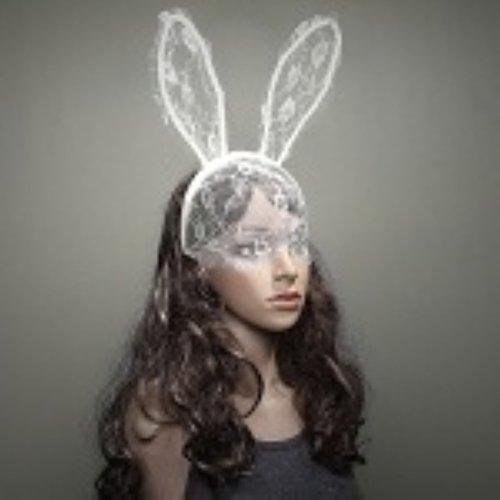 Kaninchen Bunny Ohren Stirnband mit Spitze Auge Maske Fancy Dress Zubehör Haarbänder für Kostüm Party