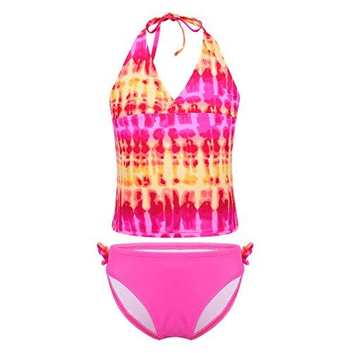CHICTRY Mädchen Badeanzug Bademode Tankini Bikini Set Floral Neckholder Kinder Badebekleidung Gr. 122-176 Rosa 146-152 -