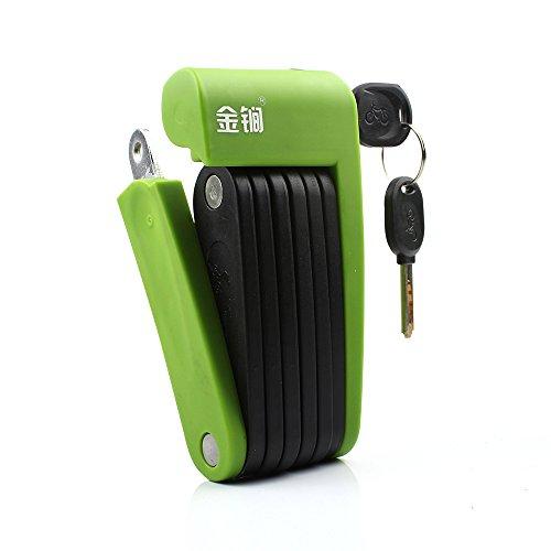 Jinjian Faltbar Lock für Alle Arten von Fahrrad Motorcycles-Ultra starkem Stahl Legierung Metall Knochen und Kunststoff Coating-Durable Multi, T602, Grün