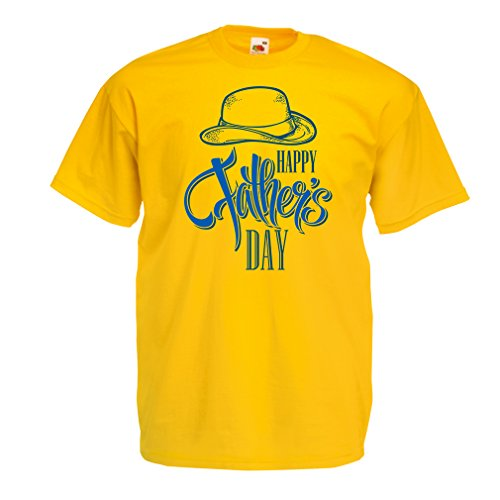 Camisetas hombre Feliz día de los padres - mejor regalo de su hijo o hija (Large Amarillo Multicolor)