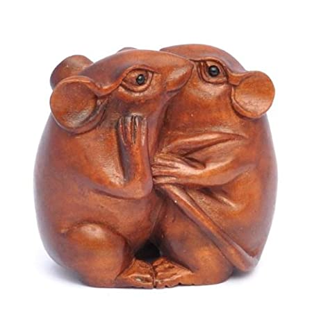 Boxwood Netsuke of whispering Mice . Hand picked by Art Of Netsuke