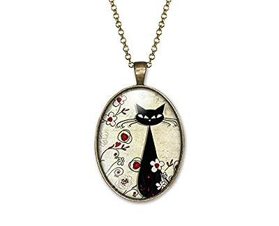 """Collier cabochon en verre, sautoir illustré chat""""Le chat parmi les fleurs"""", parure, cadeau noel, cadeau femme, cadeau saint valentin, idée cadeau, cadeau anniversaire bronze (ref.33)"""
