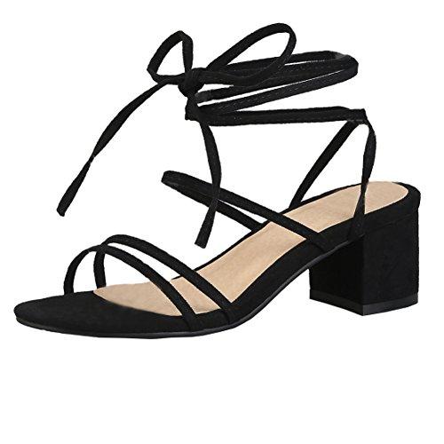 AIYOUMEI Damen Blockabsatz Sandalen Zum Schnüren High Heels Römersandalen mit Schnürung Offene Sandaletten mit Absatz 6CM Schwarz 38.5 EU
