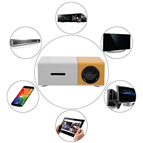Preisvergleich Produktbild YG300 Professionelle Mini Projektor Full HD1080P Heimkino LED Projektor LCD Video Media Player Projektor Gelb & Weiß (Farbe: gelb und weiß)