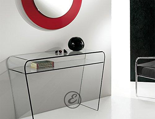 Tavolo consolle moderno in cristallo curvato salotto soggiorno ingresso - luxury z-07