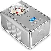 Heladera Emma con compresor de refrigeración autónoma de Springlane Kitchen 1,5 l Máquina de helados de acero inoxidable con apagado automático, recipiente extraíble y pantalla LCD