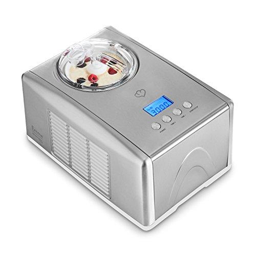 emma eismaschine Eismaschine Emma 1,5 L mit selbstkühlendem Kompressor 150 Watt, Ice-Cream-Maker aus Edelstahl mit Abschaltautomatik, entnehmbarem Eisbehälter, Antihaftversiegelung & LCD Display