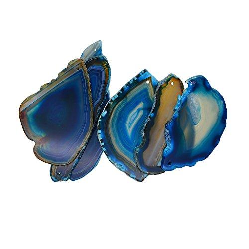 Perfk 6 pezzi naturali agata geode lucido cristallo irregolare fetta di pietra ciondolo di quarzo per fare a mano gioielli regalo decorazioni per la casa, 1.5mm foro perforato - blu navy
