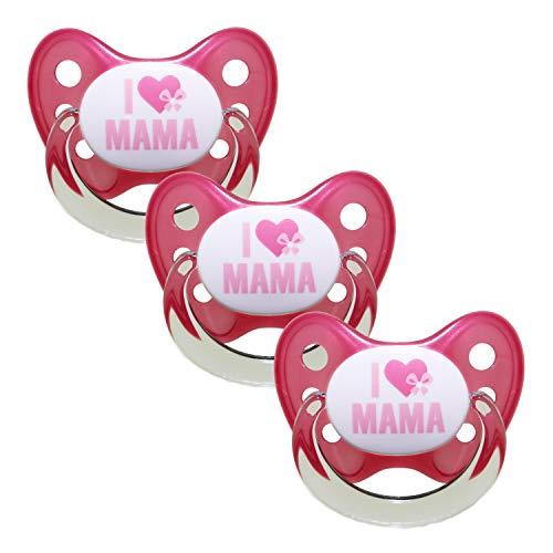Dentistar® Silikon Schnuller 3er Set - Beruhigungssauger, Nuckel, Nuggi, Größe 2, 6-14 Monate - zahnfreundlich & kiefergerecht | Pink I Love Mama