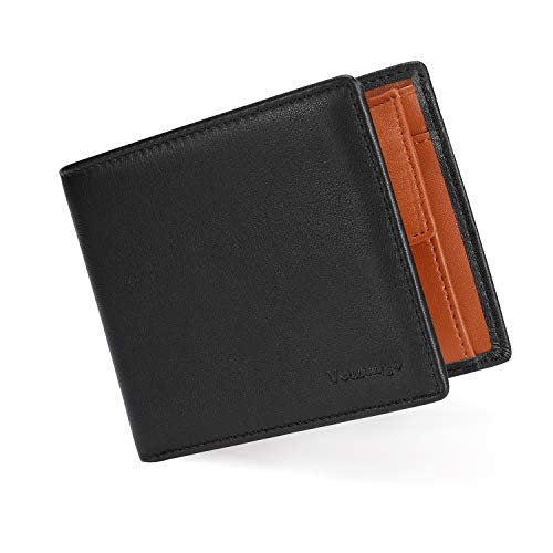 Vemingo Portafoglio Uomo con Protezione RFID in Pelle PU | Portafoglio con Fermasoldi e Portamonete Porta Carte di Credito Carta d'Identità Piccolo Sottile Elegante Compatto (xb-71Nero e Marrone)
