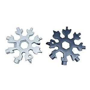 Jerome10Dan 18-in-1-Edelstahl-Schneeflocke-Multifunktionswerkzeug-Kombination, kompakte und Tragbare Produkte für den Außenbereich, Schneeflocke-Werkzeugkarte